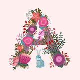 Cute letter A. Floral monogram A with vintage Royalty Free Stock Images