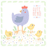 Cute light blue hen with baby chickens vector background Stock Photos