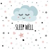 Cute light pink cartoon cloud Wish text Sleep well for baby poster Decor for kids room vector. Poster for baby room with text Sleep well for baby decorated cute royalty free illustration