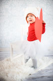 Cute liitle girl. With paper heart Stock Photos