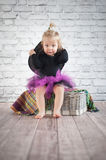 Cute liitle witch. With funny hat Royalty Free Stock Image
