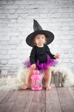 Cute liitle witch Royalty Free Stock Photo
