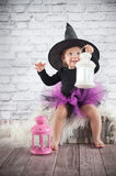 Cute liitle witch Royalty Free Stock Photography