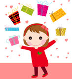 Cute lillte and present Royalty Free Stock Photography