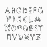 Cute line latin alphabet. Outline, empty letters for kids design Royalty Free Stock Images