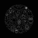 Cute Linear illustration of halloween clip art in circle shape. Vector graphic set with cute halloween doodles Stock Images