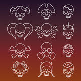 Cute linear skulls icons collection Royalty Free Stock Photography