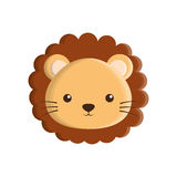 Cute lion animal isolated icon Royalty Free Stock Photo