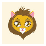 Cute lion avatar with flat colors. Illustration of a cute lion Royalty Free Stock Images