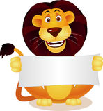Cute lion and blank sign Stock Images