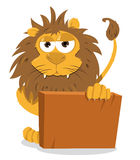 Cute Lion and a Blank Sign Royalty Free Stock Photography