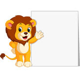 Cute lion with blank sign. Illustration of cute lion with blank sign Royalty Free Stock Images