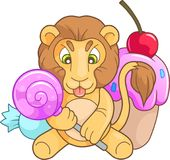 Cute lion with candy Stock Images