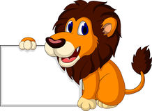 Cute lion cartoon with blank sign Stock Photo