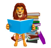 Cute Lion cartoon character with book Royalty Free Stock Photography