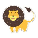 Cute Lion Cartoon Flat Vector Sticker or Icon. Cute funny african cat or lion vector flat cartoon sticker or icon outlined with dotted line isolated on white Stock Photo