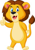 Cute lion cartoon giving thumb up Stock Photos