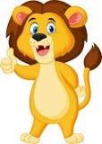 Cute lion cartoon giving thumb up Stock Photos