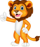 Cute lion cartoon giving thumb up Stock Photo