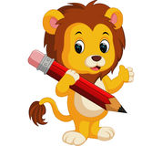 Cute lion cartoon holding pencil Royalty Free Stock Images