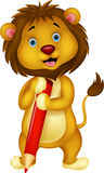 Cute lion cartoon holding red pencil Stock Images