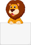 Cute lion cartoon holding sign Stock Images