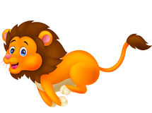 Cute lion cartoon running Royalty Free Stock Photography