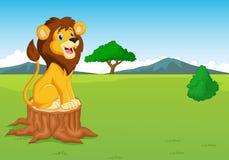 Cute lion cartoon in the savannah Royalty Free Stock Photo