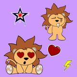 Cute lion cartoon sticker set Royalty Free Stock Photography