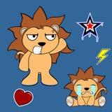 Cute lion cartoon sticker set2 Stock Image
