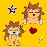 Cute lion cartoon sticker set3 Royalty Free Stock Image