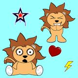 Cute lion cartoon sticker set4 Stock Image