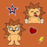 Cute lion cartoon sticker set5 Royalty Free Stock Photos
