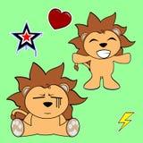 Cute lion cartoon sticker set7 Stock Images