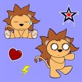 Cute lion cartoon sticker set8 Royalty Free Stock Photos
