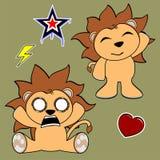 Cute lion cartoon sticker set9 Stock Images