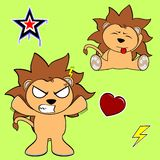 Cute lion cartoon sticker set10 Royalty Free Stock Images