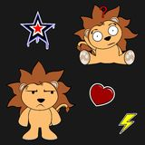 Cute lion cartoon sticker set11 Royalty Free Stock Photography