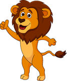 Cute lion cartoon thumb up Royalty Free Stock Image