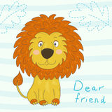Cute lion cartoon, vector illustration. Royalty Free Stock Images