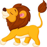 Cute lion cartoon walking Stock Image
