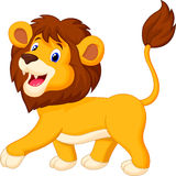 Cute lion cartoon walking Royalty Free Stock Images