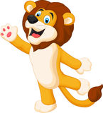 Cute lion cartoon waving hand Royalty Free Stock Image