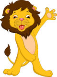 Cute lion cartoon waving Stock Photo