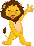 Cute lion cartoon waving Stock Photo