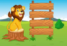 Cute lion cartoon with wooden sign royalty free illustration