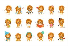 Cute lion characters posing in different situations colorful vector Illustrations vector illustration
