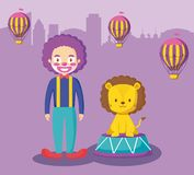 Cute lion with clown and balloons air hot. Vector illustration design stock illustration
