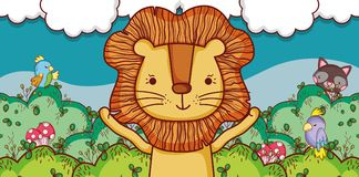 Cute lion in the forest cartoon. Vector illustration graphic design vector illustration