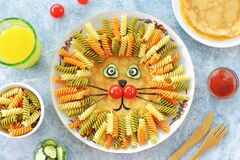 Free Cute Lion From Pancakes, Pasta And Vegetables Food Art Idea For A Children`s Lunch. Top View. Stock Photography - 169801922